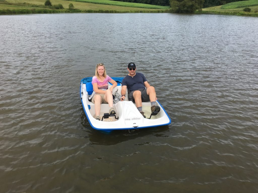 Steve & Melanie in the pedal boat